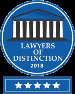 Lawyers of Distinction 2018 - 5 Stars
